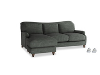 Large left hand Pavlova Chaise Sofa in Pencil Grey Clever Laundered Linen