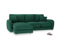 Large left hand Easy Squeeze Chaise Sofa in Cypress Green Vintage Linen