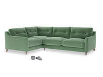 Large Left Hand Slim Jim Corner Sofa in Thyme Green Vintage Linen