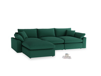 Large left hand Cuddlemuffin Modular Chaise Sofa in Cypress Green Vintage Linen