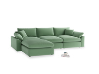 Large left hand Cuddlemuffin Modular Chaise Sofa in Thyme Green Vintage Linen