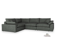 Large left hand Cuddlemuffin Modular Corner Sofa in Pencil Grey Clever Laundered Linen