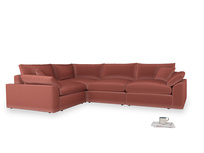 Large left hand Cuddlemuffin Modular Corner Sofa in Dusty Cinnamon Clever Velvet