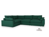 Large left hand Cuddlemuffin Modular Corner Sofa in Cypress Green Vintage Linen