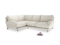 Large Left Hand Slowcoach Corner Sofa in Chalky White Clever Softie