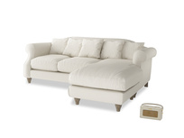 Large right hand Sloucher Chaise Sofa in Chalky White Clever Softie