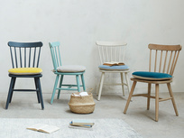 Natterbox painted and wooden dining chairs with seat cushions