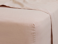 Double Everyday Linen Fitted Sheet in Pink Putty