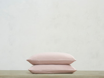 Tumbled Cotton Pillowcase in Pink Putty