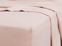 Kingsize Tumbled Cotton Fitted Sheet in Pink Putty