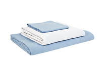 Double Lazy Linen Fitted Sheet in Cornflower Blue