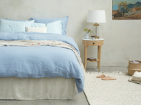 395371 lazy linen pure linen breathable bed sheets in cornflower blue