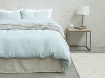 395372 lazy linen 100 percent linen breathable bed sheets in duck egg