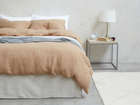 395374 lazy linen pure linen breathable bed sheets in nutmeg