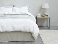 395377 lazy linen 100 percent linen breathable bed sheets in white