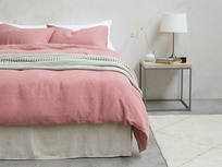 395376 lazy linen pure linen breathable bed sheets in old rose