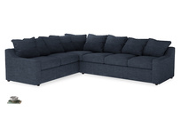 XL Left Hand Cloud Corner Sofa Bed in Selvedge Blue Clever Laundered Linen