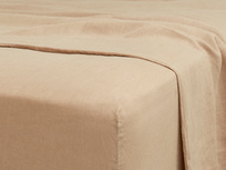 Double Lazy Linen Fitted Sheet in Nutmeg