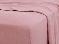 Kingsize Lazy Linen Fitted Sheet in Old Rose
