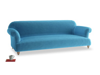 Extra large Soufflé Sofa in Teal Blue plush velvet