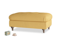 Rectangle Jammy Dodger Footstool in Dorset Yellow Clever Linen