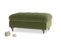Rectangle Jammy Dodger Footstool in Leafy Green Clever Cord