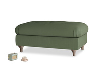Rectangle Jammy Dodger Footstool in Forest Green Clever Linen