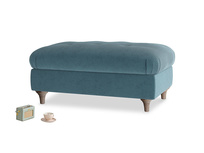 Rectangle Jammy Dodger Footstool in Lovely Blue Clever Cord