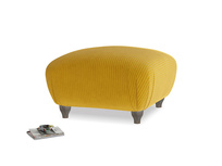 Small Square Homebody Footstool in Saffron Yellow Clever Cord