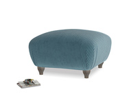 Small Square Homebody Footstool in Lovely Blue Clever Cord