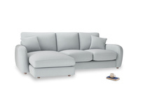 Large left hand Easy Squeeze Chaise Sofa in Gull Grey Bamboo Softie