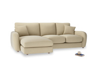 Large left hand Easy Squeeze Chaise Sofa in Hopsack Bamboo Softie