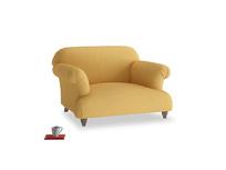 Soufflé Love seat in Dorset Yellow Clever Linen