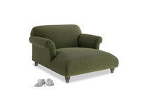 Soufflé Love Seat Chaise in Leafy Green Clever Cord