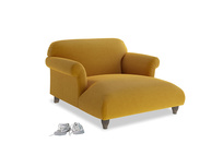 Soufflé Love Seat Chaise in Saffron Yellow Clever Cord