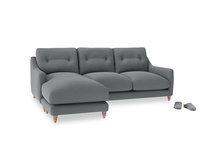 Large left hand Slim Jim Chaise Sofa in Cornish Grey Bamboo Softie