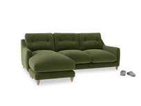 Large left hand Slim Jim Chaise Sofa in Leafy Green Clever Cord