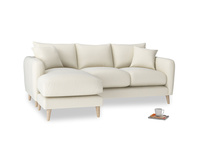 Large left hand Squishmeister Chaise Sofa in Alabaster Bamboo Softie