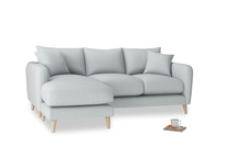 Large left hand Squishmeister Chaise Sofa in Gull Grey Bamboo Softie
