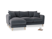 Large left hand Squishmeister Chaise Sofa in Scandi grey Clever Cord