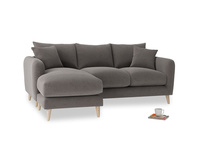 Large left hand Squishmeister Chaise Sofa in Everyday Grey Clever Cord