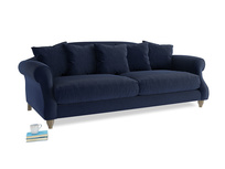 Large Sloucher Sofa in Indian Blue Clever Cord