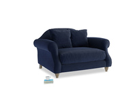 Sloucher Love seat in Indian Blue Clever Cord