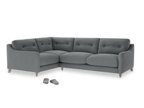 Large Left Hand Slim Jim Corner Sofa in Cornish Grey Bamboo Softie
