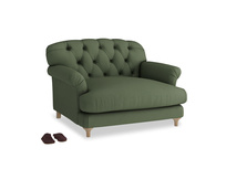 Truffle Love seat in Forest Green Clever Linen
