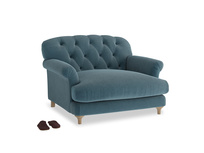 Truffle Love seat in Lovely Blue Clever Cord