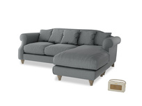 Large right hand Sloucher Chaise Sofa in Cornish Grey Bamboo Softie