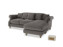 Large right hand Sloucher Chaise Sofa in Everyday Grey Clever Cord