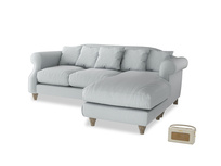 Large right hand Sloucher Chaise Sofa in Gull Grey Bamboo Softie