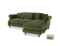 Large right hand Sloucher Chaise Sofa in Leafy Green Clever Cord